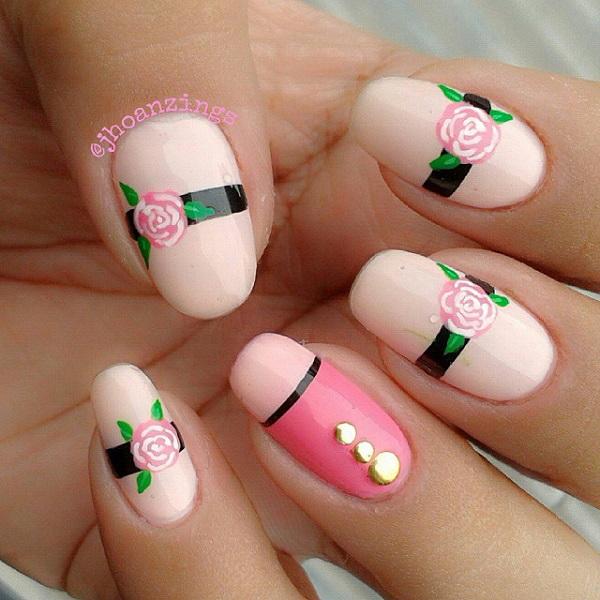 Pink Rose Nail Design.