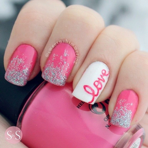 Pink and White Valentine's Nail Art Design.