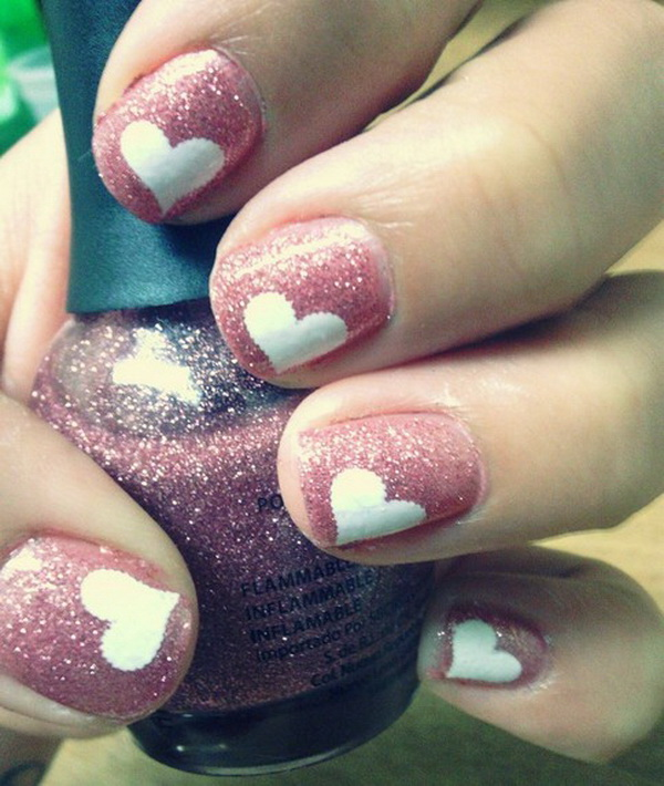 Pink Nails with White Heart shape.