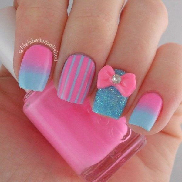 Cotton Candy Inspired Pink Nail Art Design.