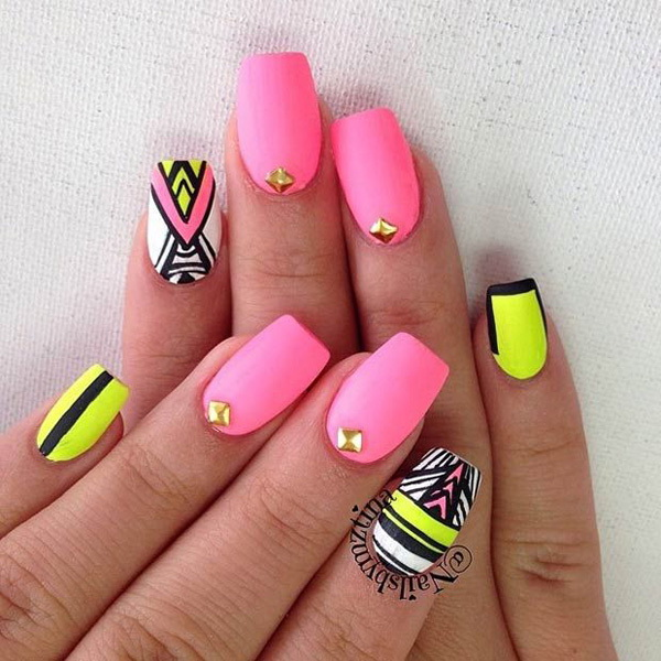 Pink Tribal Nail Design.