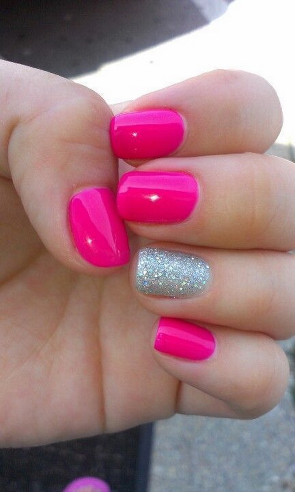 Hot Pink Nails with Silver Glitter Accent.