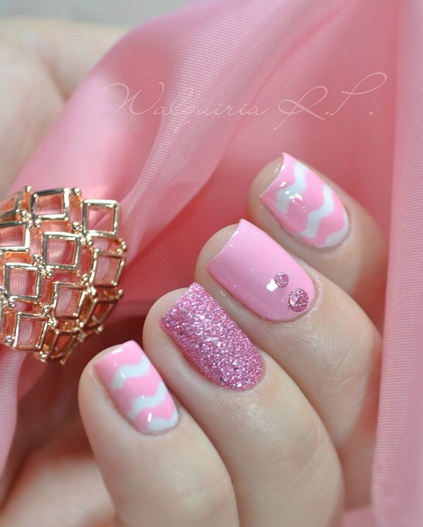 Pink Glitters and Beads Nail Art Design.