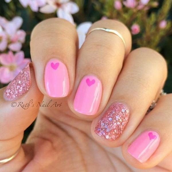 Cute Pink Heart& Glitter Nail Design - 45 Pretty Pink Nail Art Designs - For Creative Juice