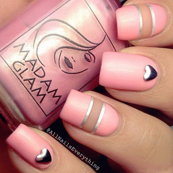 Pink Negative Space Nails.