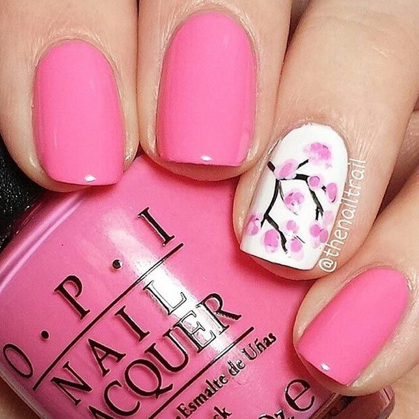 Pink Spring Cherry Blossom Nail Design for Short Nails.