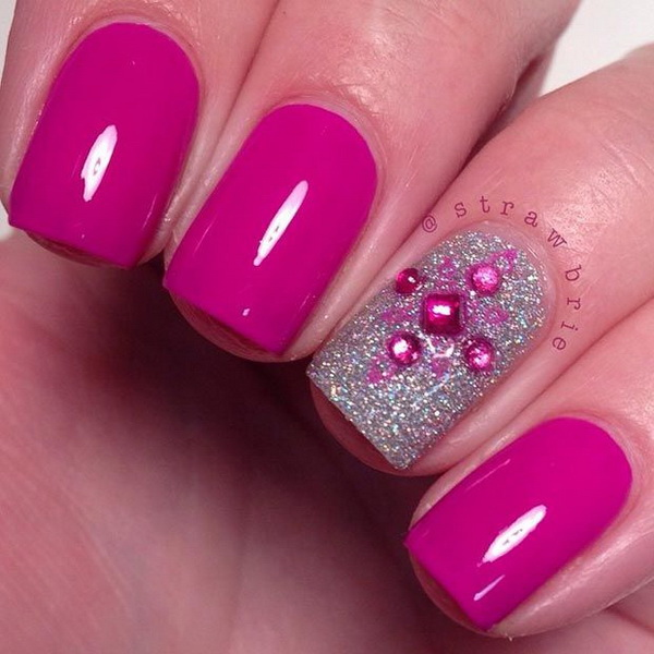Hot Pink and Silver Nail Design for Short Nails - 45 Pretty Pink Nail Art Designs - For Creative Juice