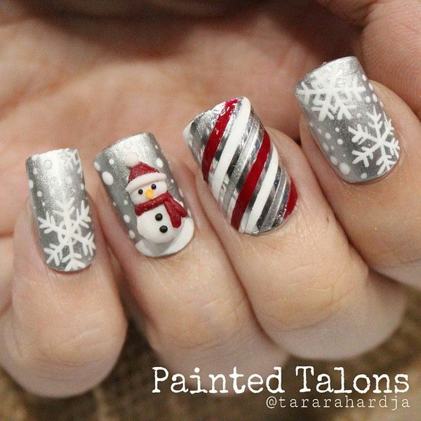 Silver Striped Winter Nail Design/Pinterest - 25 Inspirational Winter Nail Art Ideas - For Creative Juice