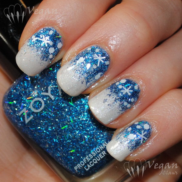 25 inspirational winter nail art ideas for creative juice blue glitter snowflake on white gel nails fashion diva design prinsesfo Image collections