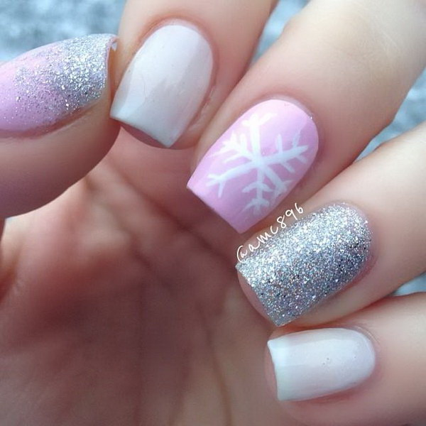 Blue Tip with Snowflakes Winter Nail Art via - 25 Inspirational Winter Nail Art Ideas - For Creative Juice