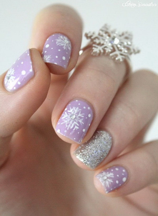 25 inspirational winter nail art ideas for creative juice cute purple snowflake nail art via prinsesfo Images