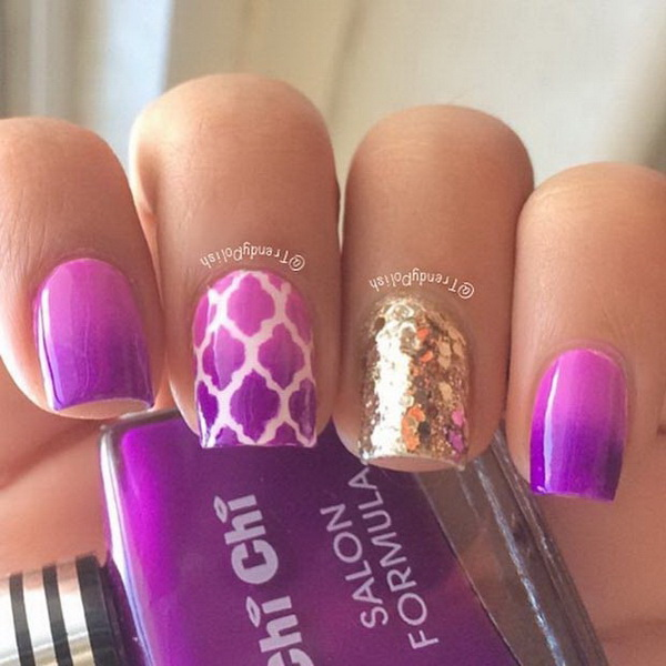 30 chosen purple nail art designs for creative juice purple and gold sequin nails prinsesfo Images