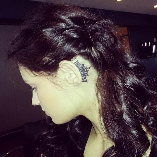 Mandala Tattoo Behind The Ear.