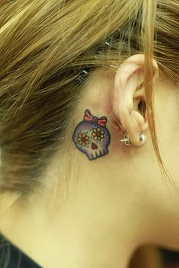 Sugar Skull Behind The Ear.