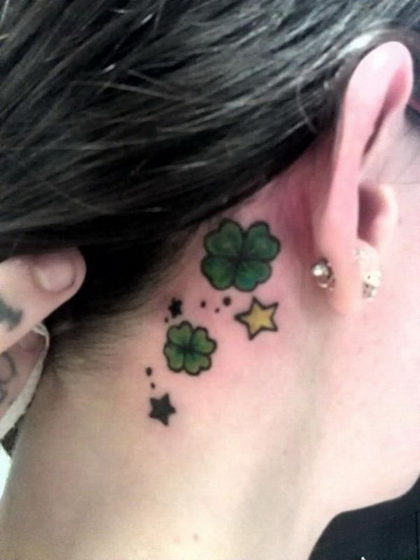 Four Leaf Clover Ear Tattoo.