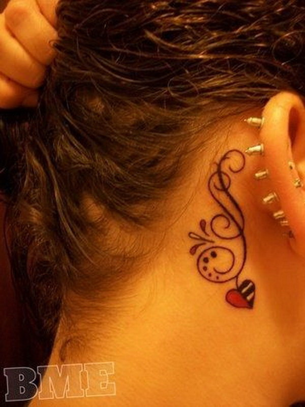 Feminine Behind-The-Ear Tattoo Design With Heart.