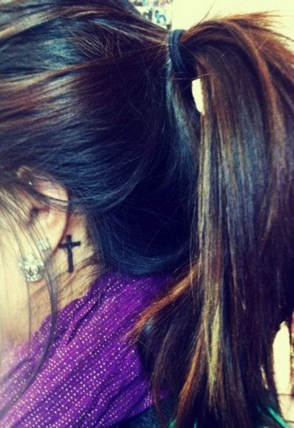 Cross Tattoo Design Behind the Ear.