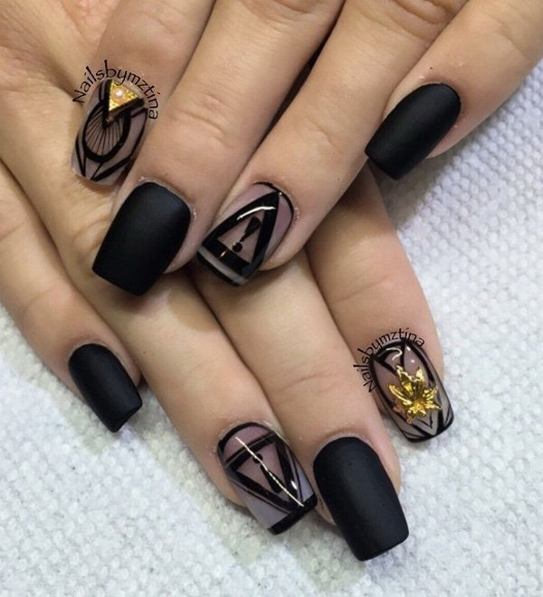 Matte Black and Tribal Inspired Nail Art.