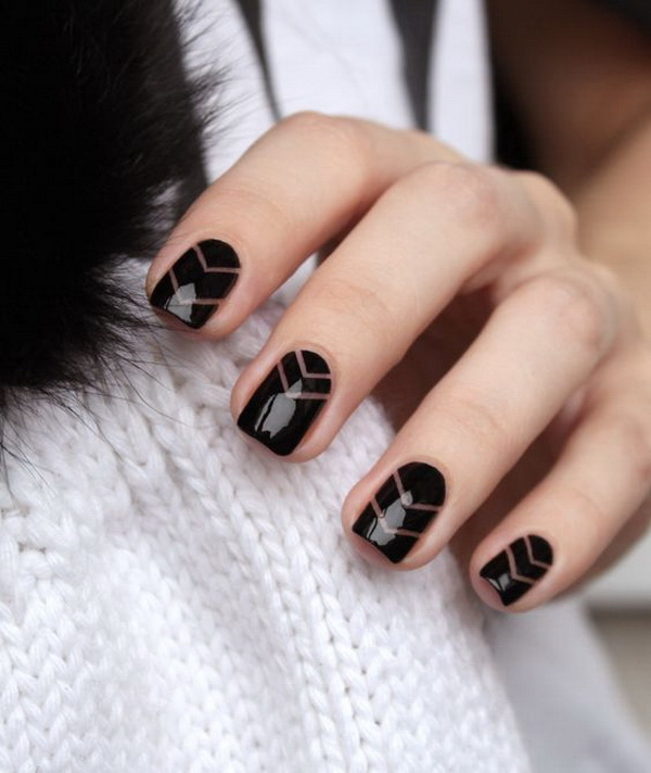 Black Negative Space Nail Design with Striping Tapes.