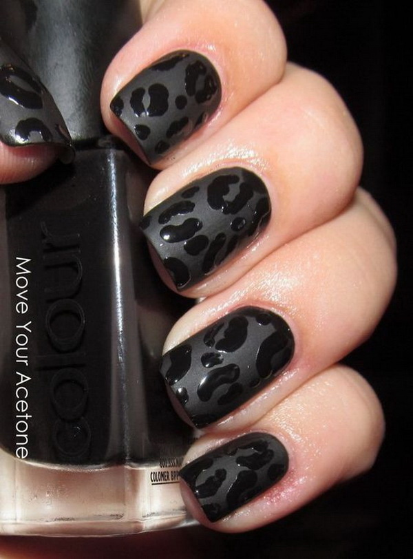 Black Leopard Manicure for Short Nails - 25+ Elegant Black Nail Art Designs - For Creative Juice