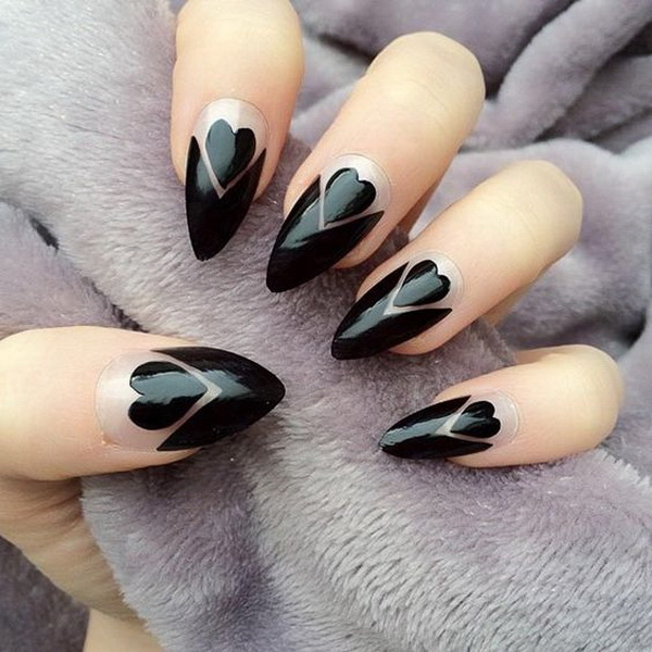Black Hearts & Negative Space Stiletto Nails - 25+ Elegant Black Nail Art Designs - For Creative Juice