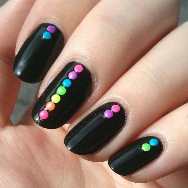 Black Nails with Colorful Dots On Top.