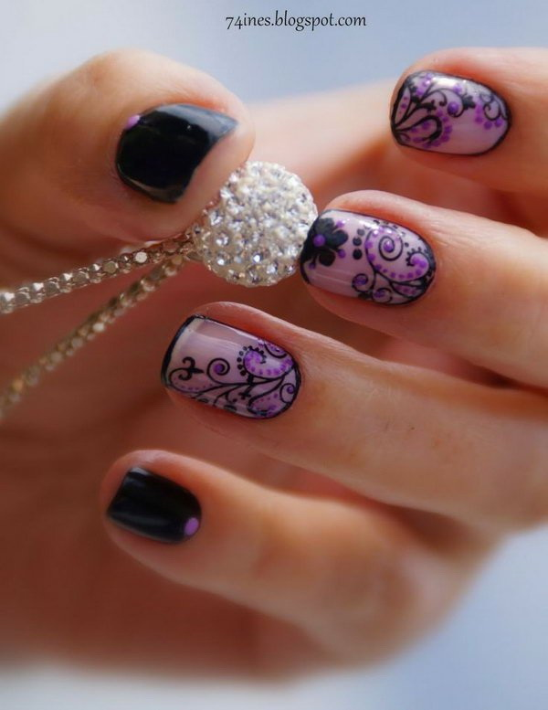 Black and Purple Floral Nail Art.