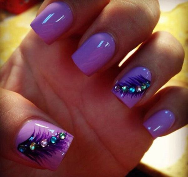 Purple Feather Nails with Beads on Top for Detail - 30+ Chosen Purple Nail Art Designs - For Creative Juice