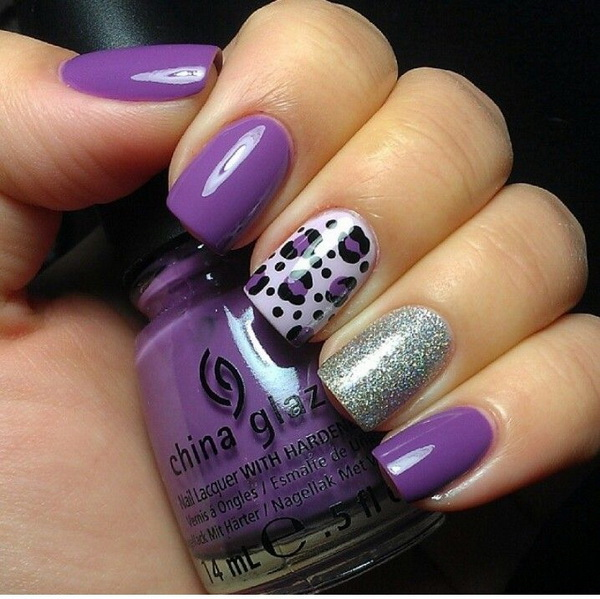 Purple and Silver Leopard Nail Design.