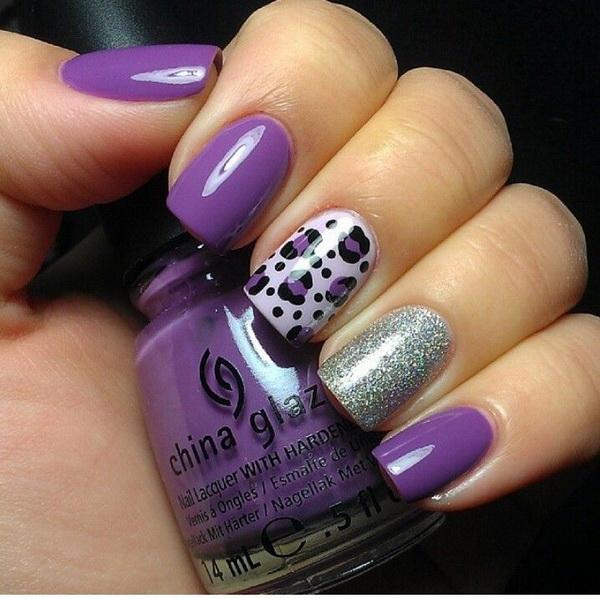 Purple and Silver Leopard Nail Design.