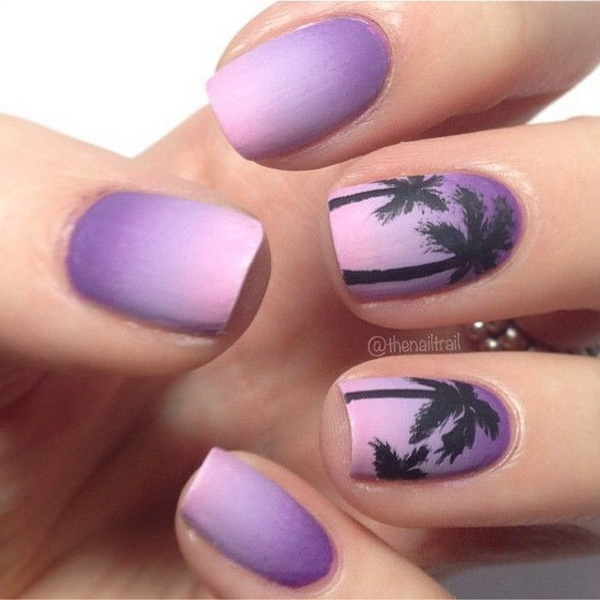 Purple Ombre Palm Tree Nails.