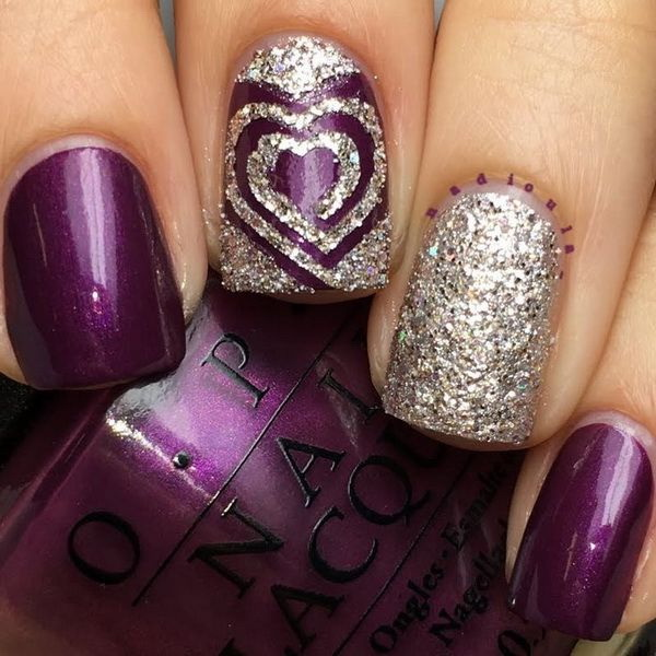 Purple Nails with Glitter Accent.