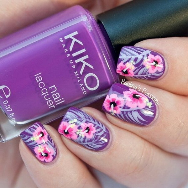 Purple and Pink Floral Nail Art Design.