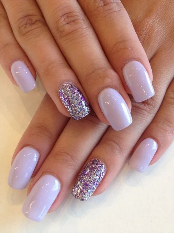 Silver and Purple Glitter Nails.