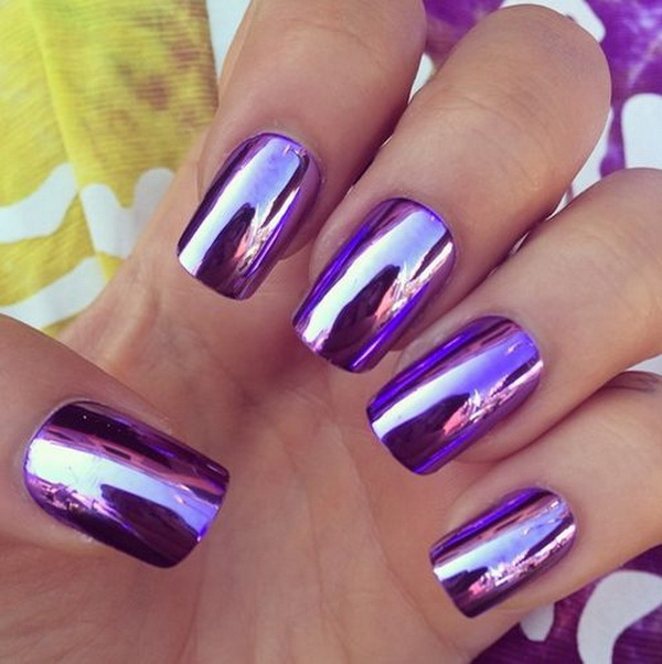 30 chosen purple nail art designs for creative juice metallic purple nail art prinsesfo Gallery