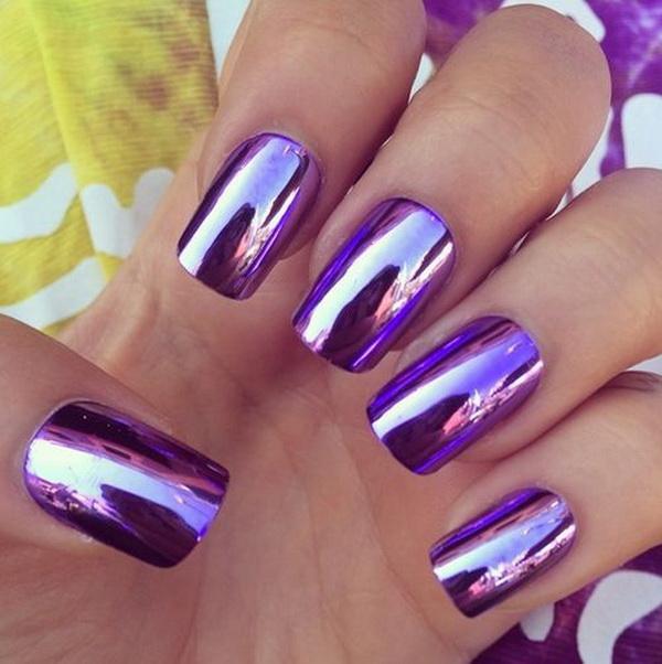 Metallic Purple Nail Art.
