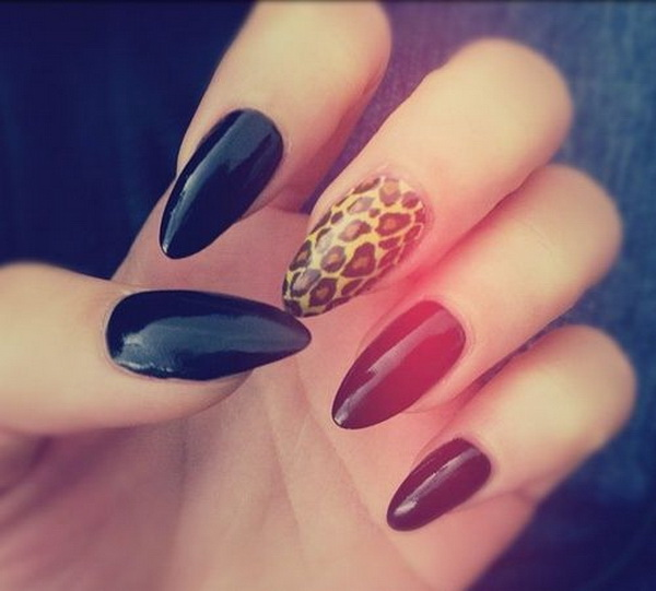 Black and Leopard Almond-shaped Nail Art Design.