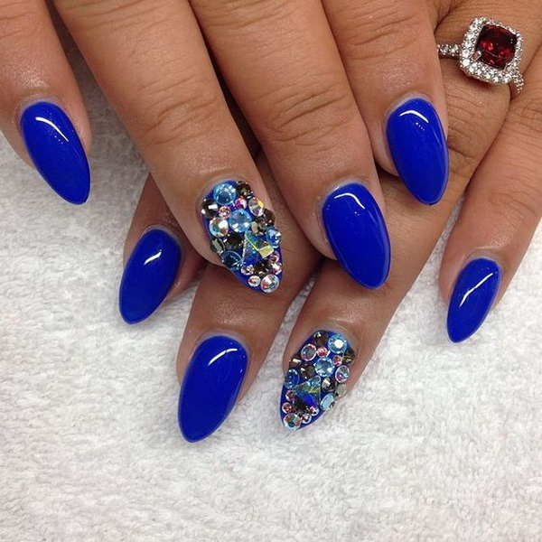 Blue Almond Shaped Nails with Gems Accents - 20 Beautiful Almond Nail Designs - For Creative Juice