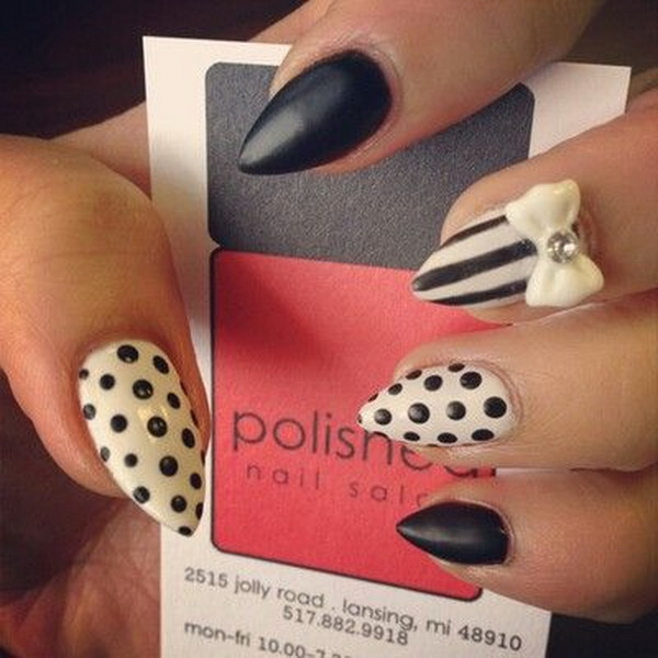 Black and White Almond Nail with Bow, Polka Dots and Strips.