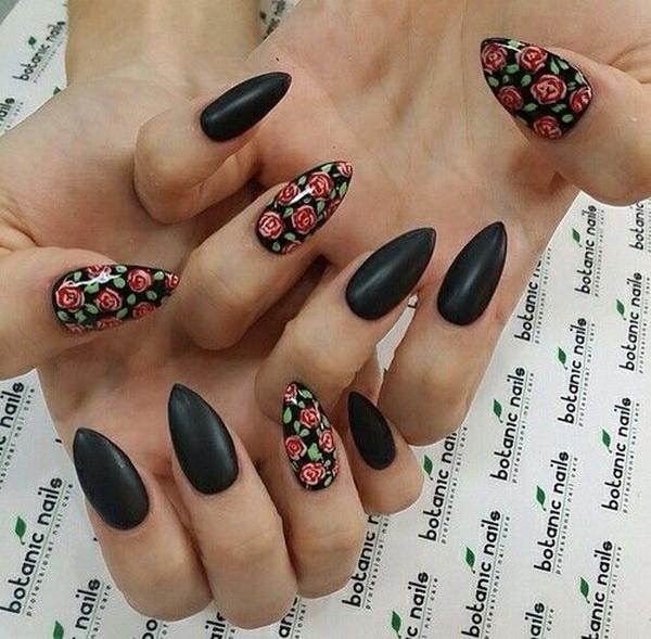 Matte Black Floral Nails in Almond Shape.