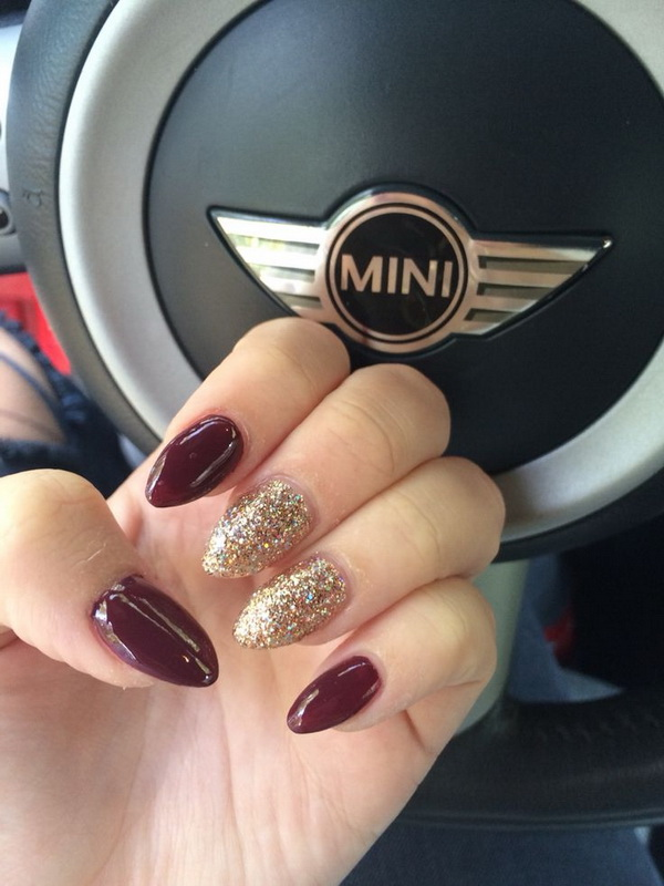 Burgundy and Gold Almond Shaped Nails.