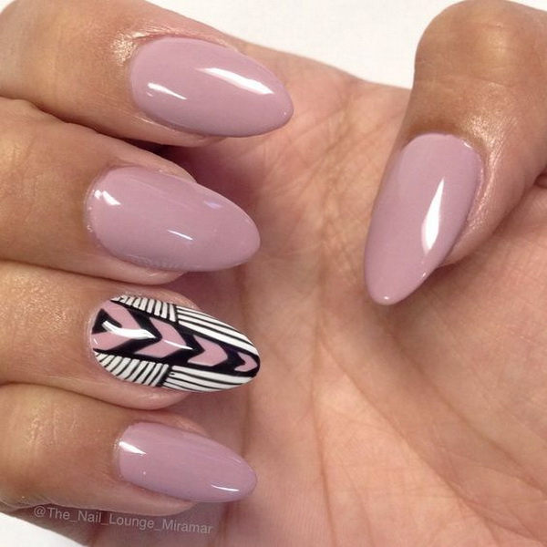 Almond Shaped Chevron Inspired Gel Nail Art Design.