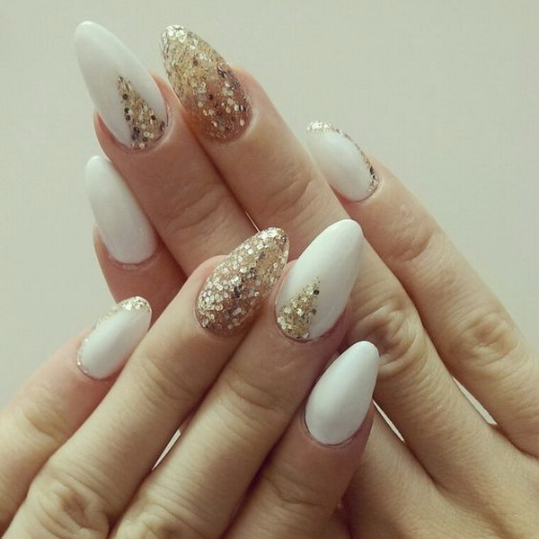 Almond Shaped White and Gold Nails.
