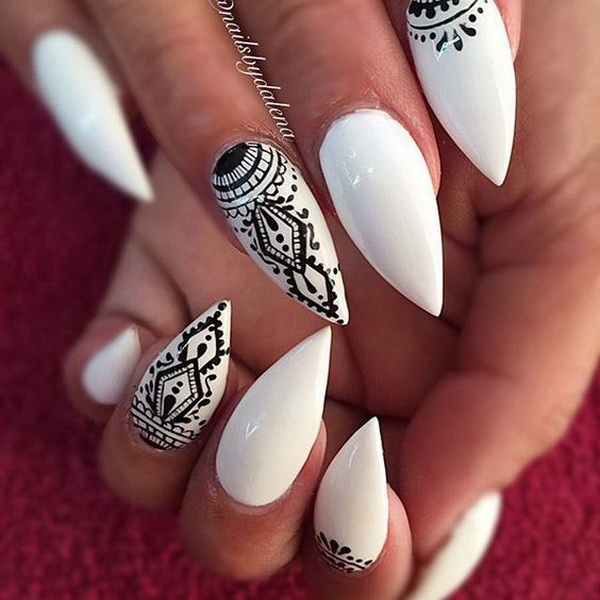 30 stylish black white nail art designs for creative juice black and white tribal nails prinsesfo Gallery