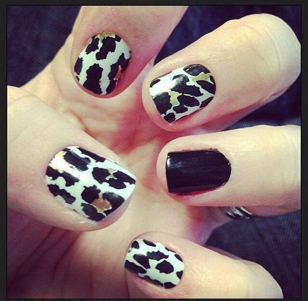 Black and White Leopard Nail Design.