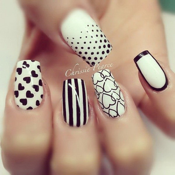 Black and White Heart Nails.