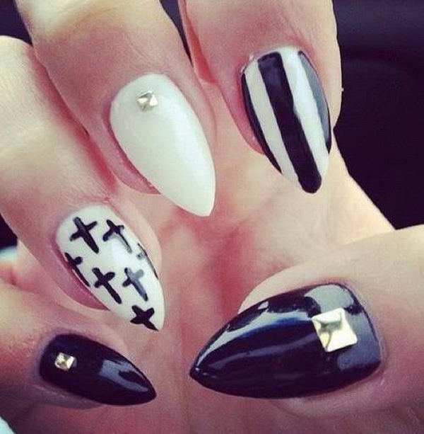 White And Black Stiletto with Crosses, Strips and jewels Nail Art Design.