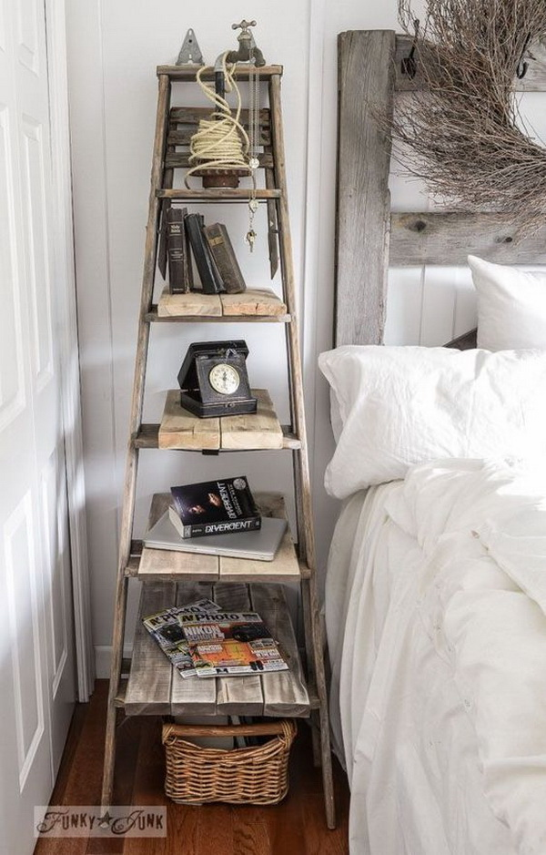 DIY Stepladder Side Table.