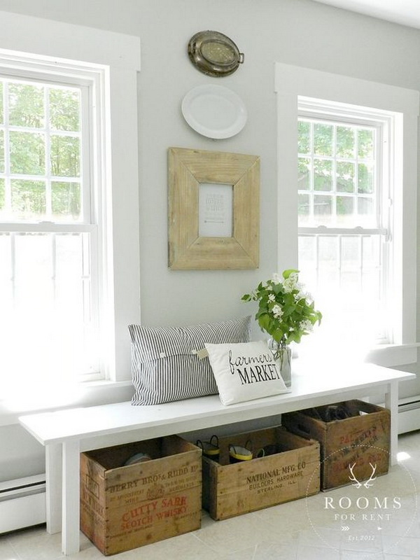 Farmhouse Bench with Crate Storage.