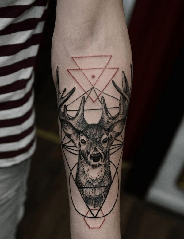 Deer Geometric Forearm Tattoo.What a cool tattoo design idea!  Love it very much! This will be my next tattoo design. via https://forcreativejuice.com/awesome-forearm-tattoo-designs/